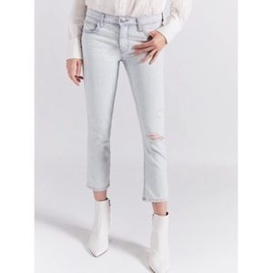 Current/Elliot Cropped Straight Distressed Jeans